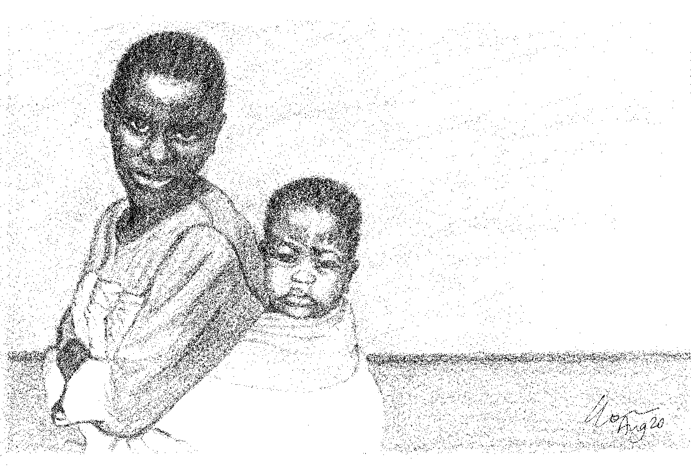 a black and white pencil drawing of a black woman with short hair who looks directly to the viewer. She is carrying her baby on her back in a cloth.