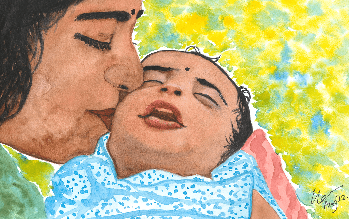 a painting of a woman with brown skin and dark hair kisses her newborn baby