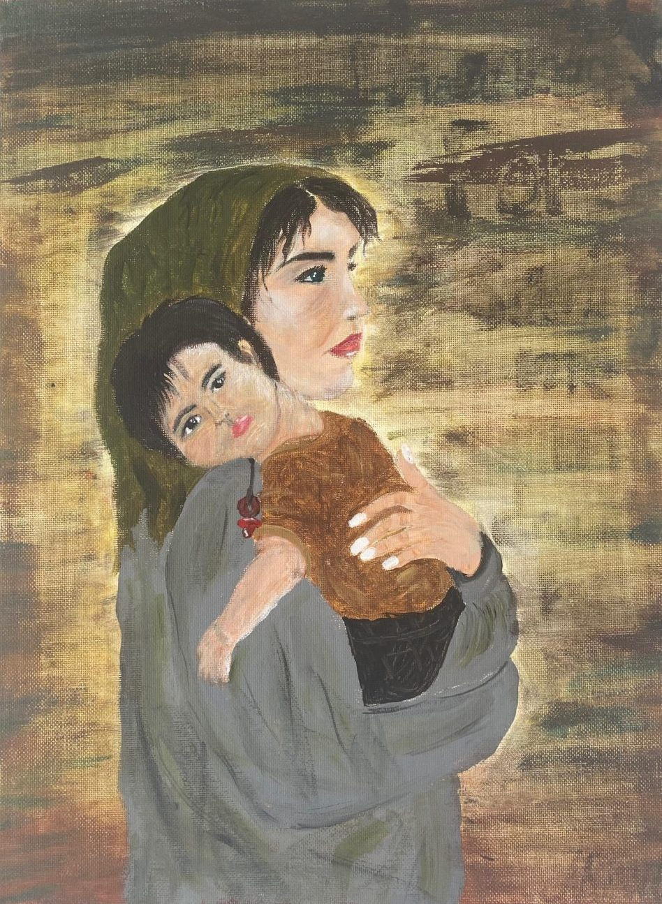 a painting of a woman with pale skin and dark hair looks to the side. She is wearing a head scarf and is holding her toddler who is looking at the viewer