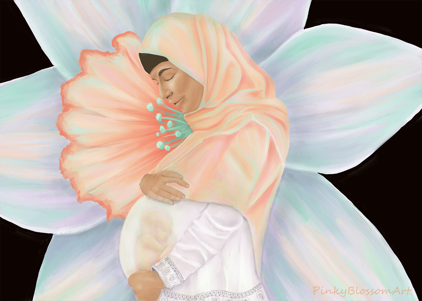 a painting of a woman with brown skin who is wearing a head scarf and a white dress. She is looking down at her pregnant belly