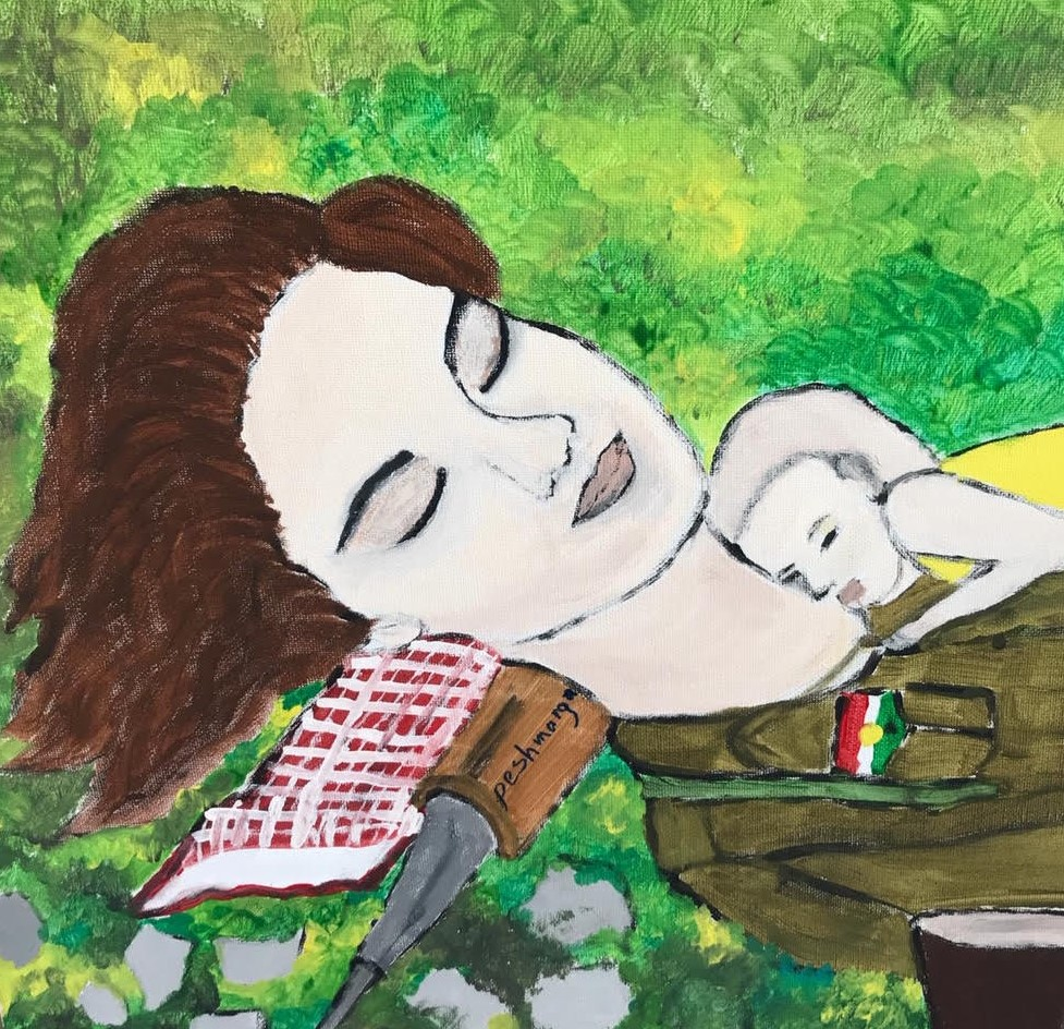 a painting of a white woman with brown hair who is resting with her baby on her chest